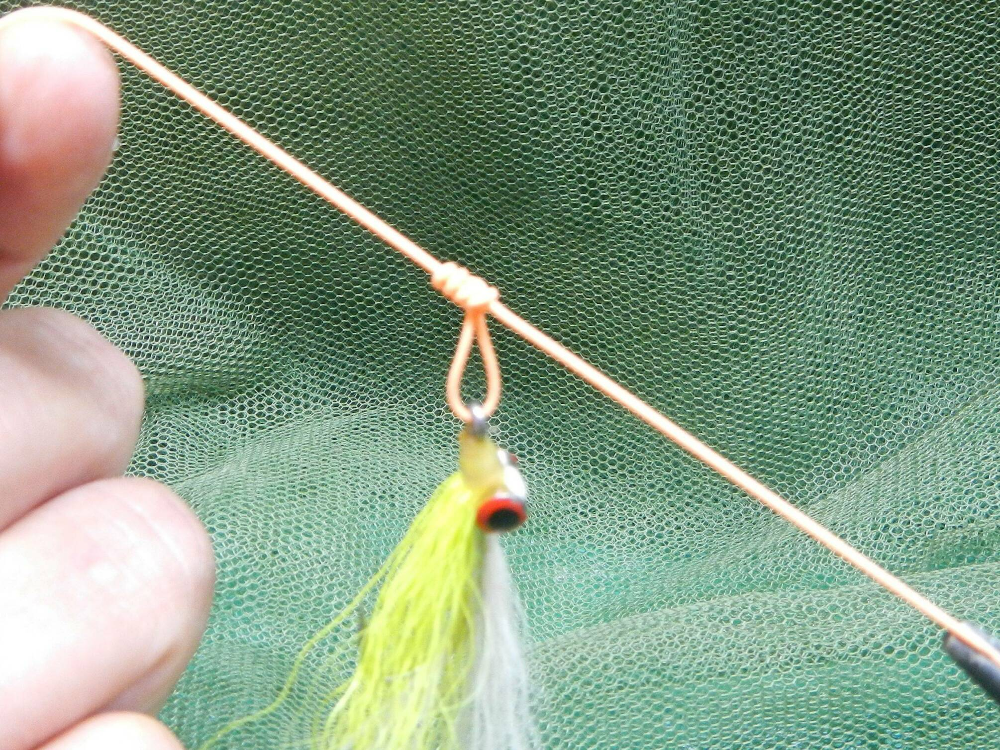 Pull gently on both ends to close the overhand knot. Wet and cinch down. You can adjust the size of the loop with a little practice